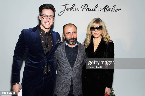 Designer John Paul Ataker poses with Dr Mike and Marla Maples backstage at the John Paul Ataker Fall Winter 2017 Runway Show at Pier 59 on February...