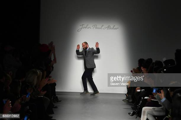 Designer John Paul Ataker walks the runway at the John Paul Ataker Fall Winter 2017 Runway Show at Pier 59 on February 14 2017 in New York City