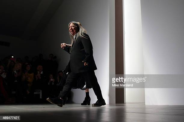 Designer John Rocha walks the runway at the John Rocha show at London Fashion Week AW14 at Somerset House on February 15 2014 in London England