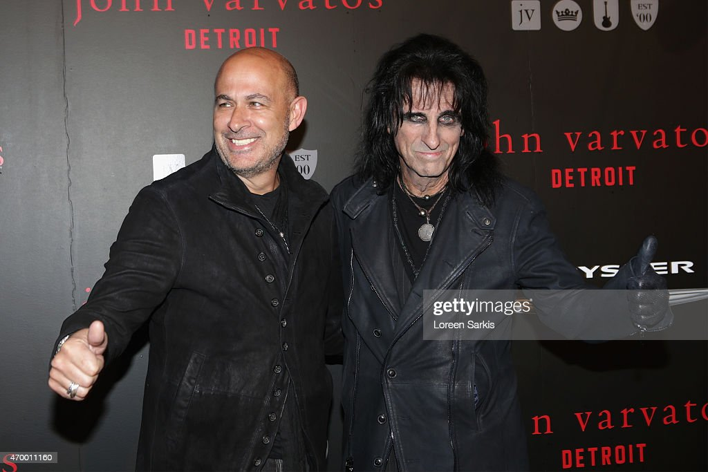 Designer John Varvatos and recording artist Alice Cooper attend John Varvatos Detroit Store Opening Party hosted by Chrysler on April 16, 2015 in Detroit, Michigan.