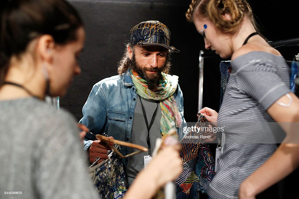 Designer Johny Dar is seen backstage ahead of the Jeans For Refugees By Johny Dar show during the Mercedes-Benz Fashion Week Berlin Spring/Summer 2017 at Erika Hess Eisstadion on July 1, 2016 in Berlin, Germany.
