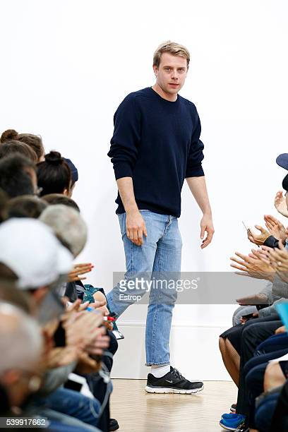 Designer Jonathan Anderson walks the runway at the JWAnderson show designed by Jonathan Anderson during The London Collections Men SS17 at on June 12...