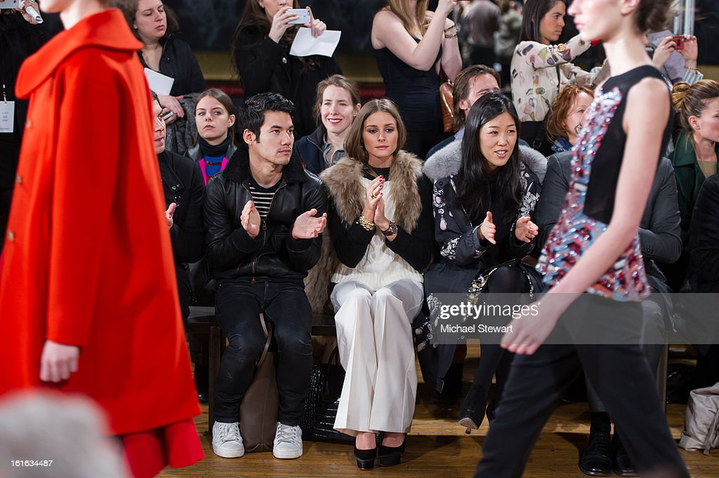 Designer <a gi-track='captionPersonalityLinkClicked' href=/galleries/search?phrase=Joseph+Altuzarra+-+Fashion+Designer&family=editorial&specificpeople=5710924 ng-click='$event.stopPropagation()'>Joseph Altuzarra</a> (L) and TV personality <a gi-track='captionPersonalityLinkClicked' href=/galleries/search?phrase=Olivia+Palermo&family=editorial&specificpeople=2639086 ng-click='$event.stopPropagation()'>Olivia Palermo</a> attend Philosophy By Natalie Ratabesi during fall 2013 Mercedes-Benz Fashion Week on February 13, 2013 in New York City.