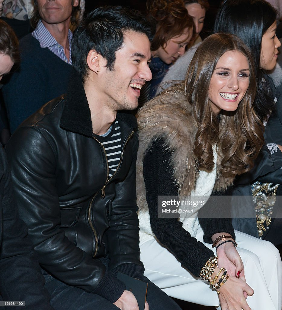 Designer Joseph Altuzarra (L) and TV personality Olivia Palermo attend Philosophy By Natalie Ratabesi during fall 2013 Mercedes-Benz Fashion Week on February 13, 2013 in New York City.