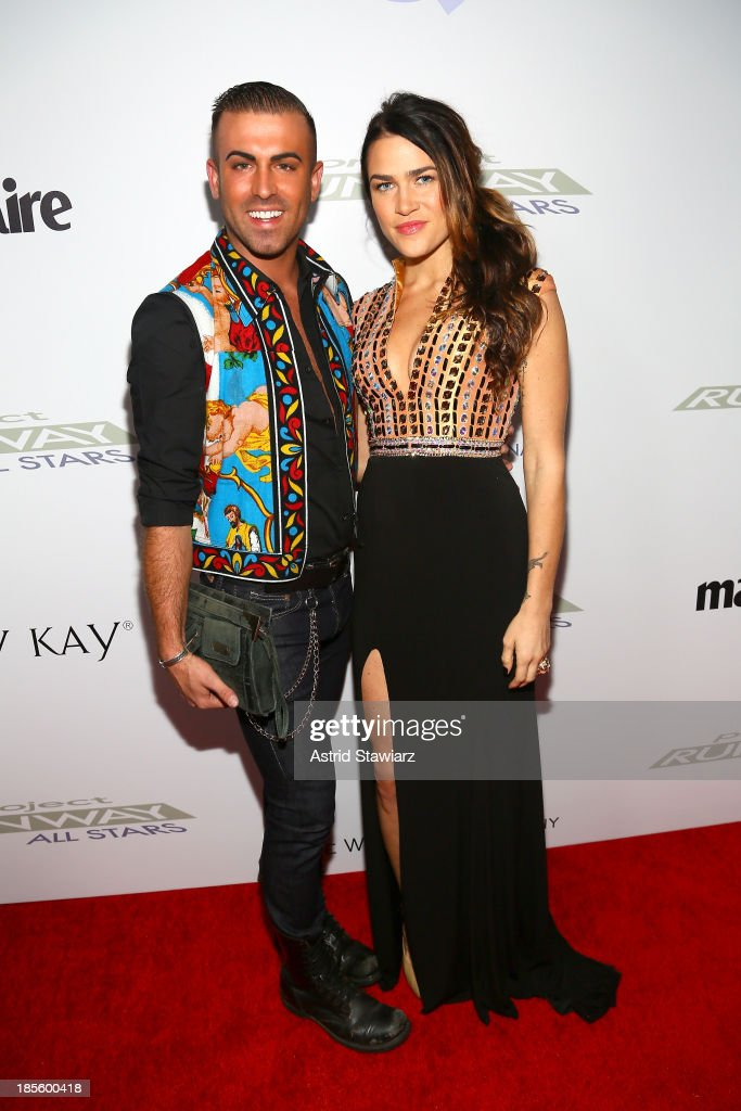 Designer Josh McKinley (L) and model attend the Project Runway All Stars Season 3 premiere party presented by The Weinstein Company and Lifetime in partnership with Marie Claire, QVC, Mary Kay and Alterna Haircare at Hudson Common at the Hudson Hotel on October 22, 2013 in New York City.