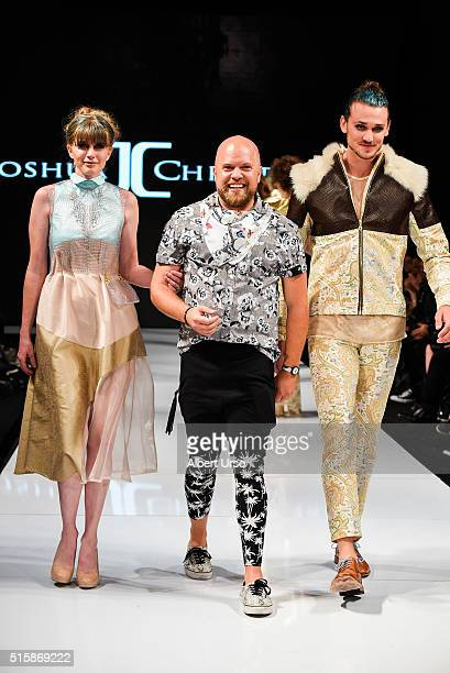 Designer Joshua Christensen walks the runway with models at the Art Hearts Fashion LAFW Fall/Winter 2016 Day 3 at the Taglyan Cultural Complex on...