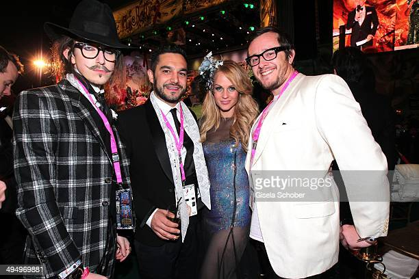 Designer Joshua Kane Ben Mawson boyfriend of Mirjam Weichselbraun William Chipperfield attend the Life Ball 2014 after show party at City Hall on May...