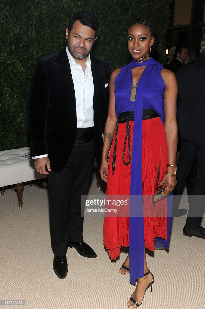 Designer Juan Carlos Obando and Condola Rashad attend CFDA and Vogue 2013 Fashion Fund Finalists Celebration at Spring Studios on November 11 2013 in...