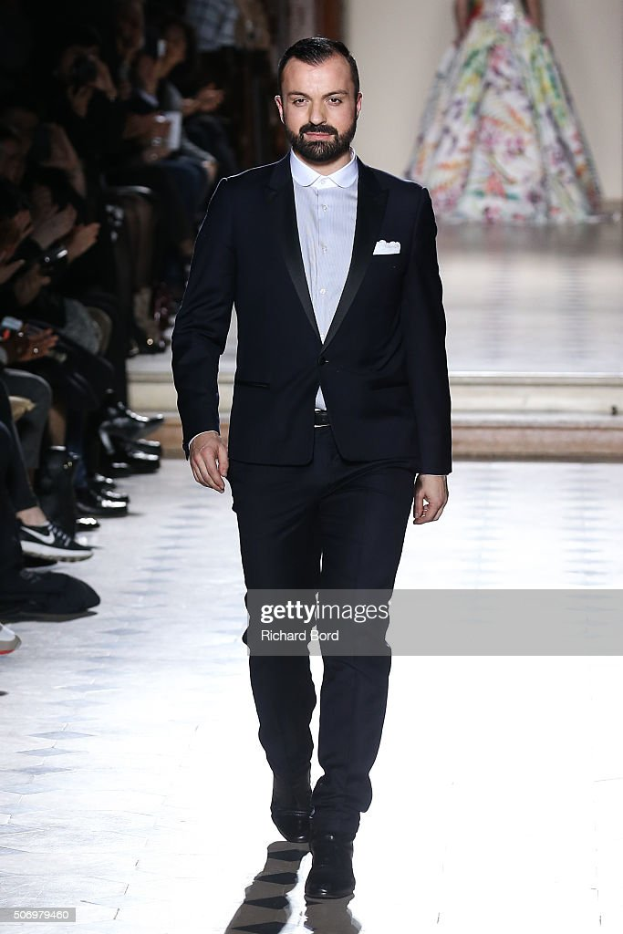 Designer Julien Fournie walks the runway during the Julien Fournie Spring Summer 2016 show as part of Paris Fashion Week on January 26, 2016 in Paris, France.