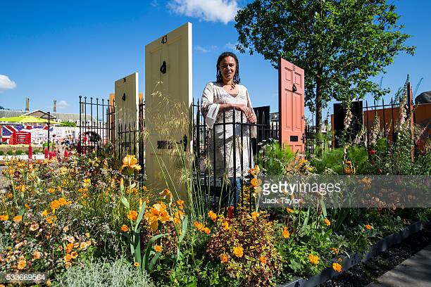 Designer Juliet Sargeant poses in her 'Modern Slavery Garden' at the Chelsea Flower Show on May 23 2016 in London England Ms Sargeant is the first...