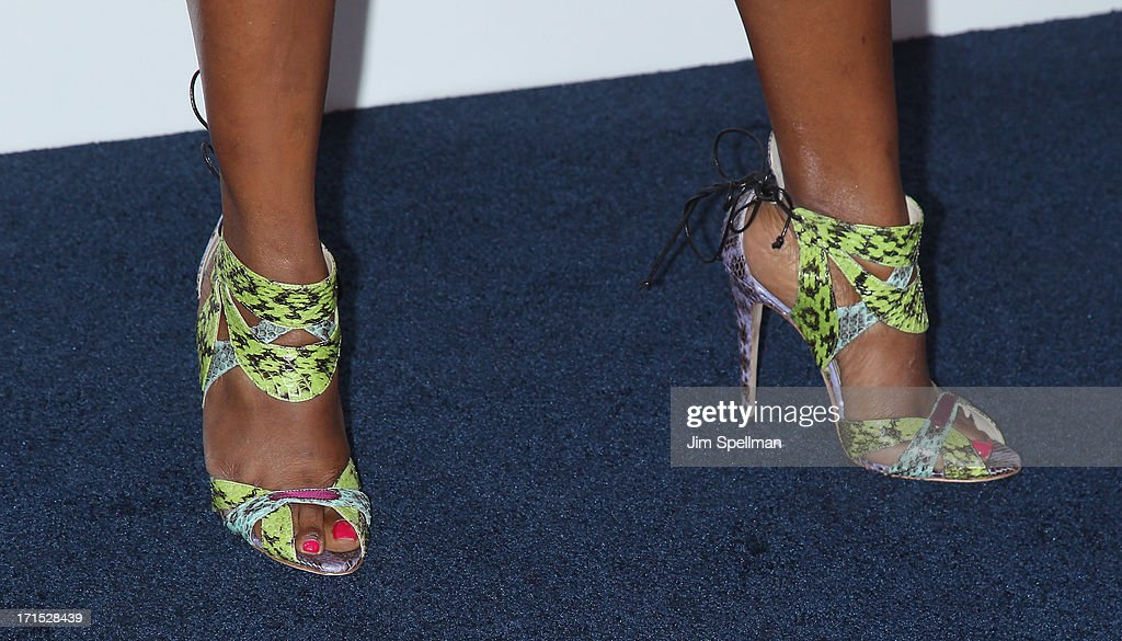 Designer June Ambrose (shoe detail) attends 'White House Down' New York Premiere at Ziegfeld Theater on June 25, 2013 in New York City.