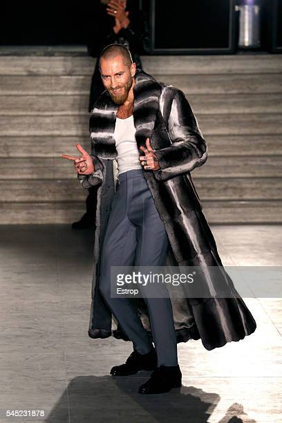 Designer Justin O'Shea walks the runway during the Brioni Presentation designed by Justin O'Shea Haute Couture Fall/Winter 20162017 as part of Paris...