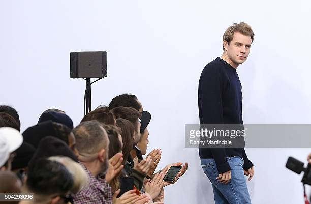 Designer JWAnderson walks the runway at the JWAnderson show during The London Collections Men AW16 at on January 10 2016 in London England