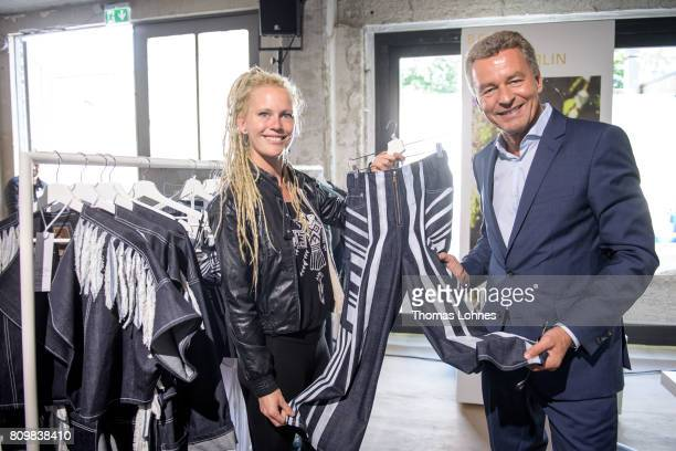 Designer Karen Jessen and Detlef Braun Member of the Executive Board of Messe Frankfurt pictured at the Greenshowroom / Ethical Fashion Show Berlin...