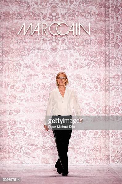 Designer Karin Veit on the runway at the Marc Cain show during the MercedesBenz Fashion Week Berlin Autumn/Winter 2016 at Brandenburg Gate on January...
