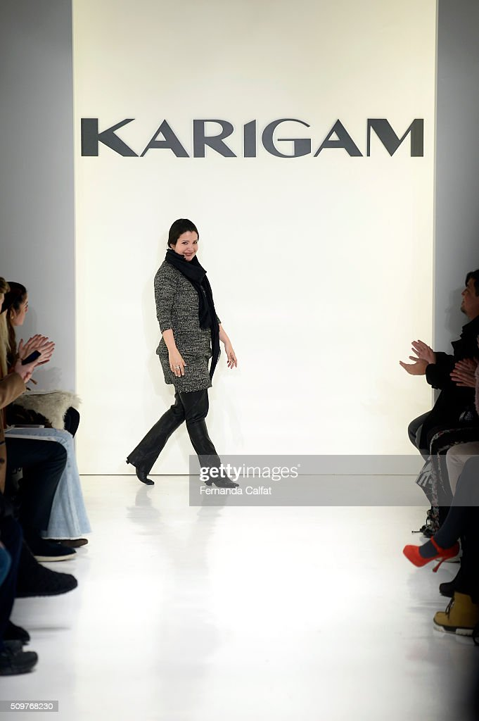 Designer, Karina Gamez, walks the runway at the Karigam Fall 2016 fashion show during New York Fashion Week: The Shows at The Space, Skylight at Clarkson Sq on February 12, 2016 in New York City.