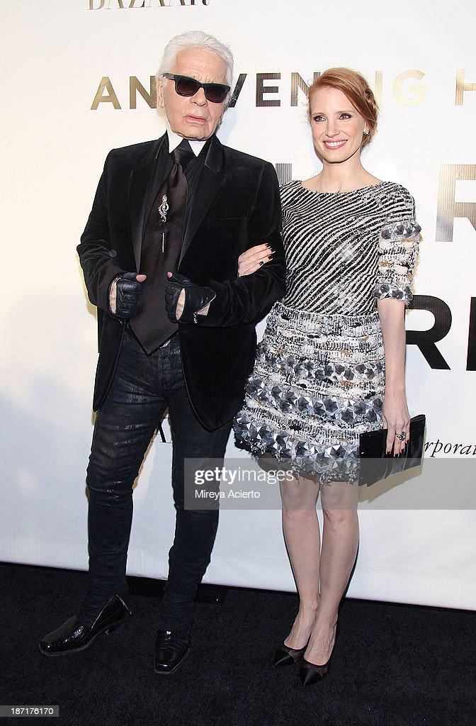 Designer Karl Kagerfeld and actress Jessica Chastain attend An Evening Honoring Karl Lagerfeld at Alice Tully Hall on November 6, 2013 in New York City.