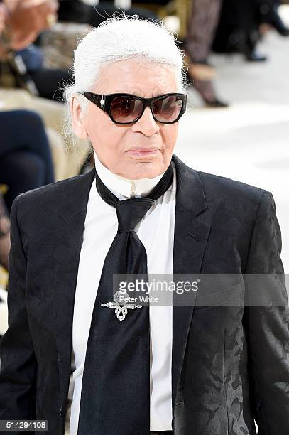 Designer Karl Lagerfeld acknowledges the applause of the audience after the Chanel show as part of the Paris Fashion Week Womenswear Fall/Winter...