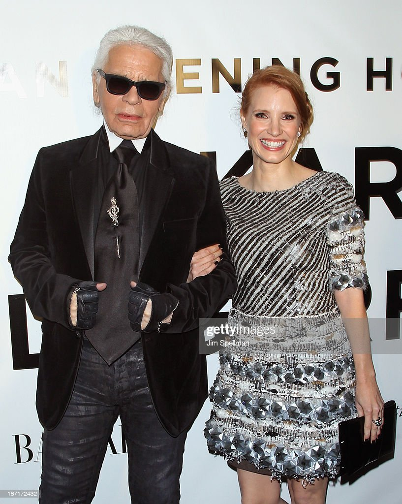 Designer Karl Lagerfeld and actress <a gi-track='captionPersonalityLinkClicked' href=/galleries/search?phrase=Jessica+Chastain&family=editorial&specificpeople=653192 ng-click='$event.stopPropagation()'>Jessica Chastain</a> attend An Evening Honoring Karl Lagerfeld at Alice Tully Hall on November 6, 2013 in New York City.