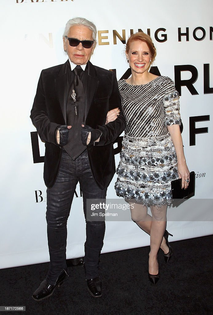 Designer Karl Lagerfeld and actress Jessica Chastain attend An Evening Honoring Karl Lagerfeld at Alice Tully Hall on November 6, 2013 in New York City.
