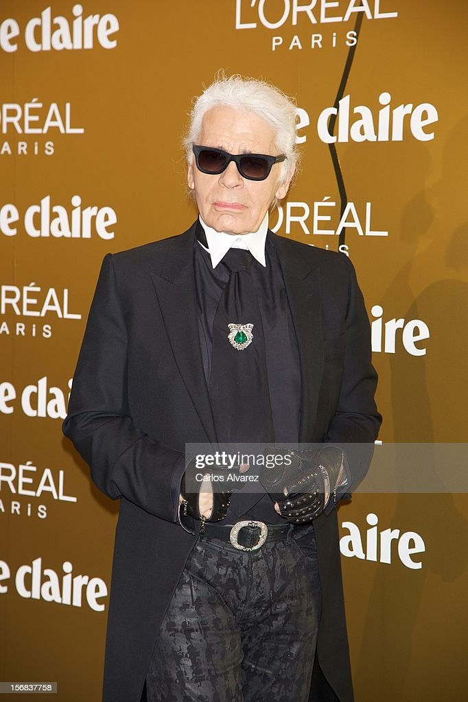 Designer Karl Lagerfeld attends Marie Claire Prix de la Moda Awards 2012 at the French Embassy on November 22, 2012 in Madrid, Spain.