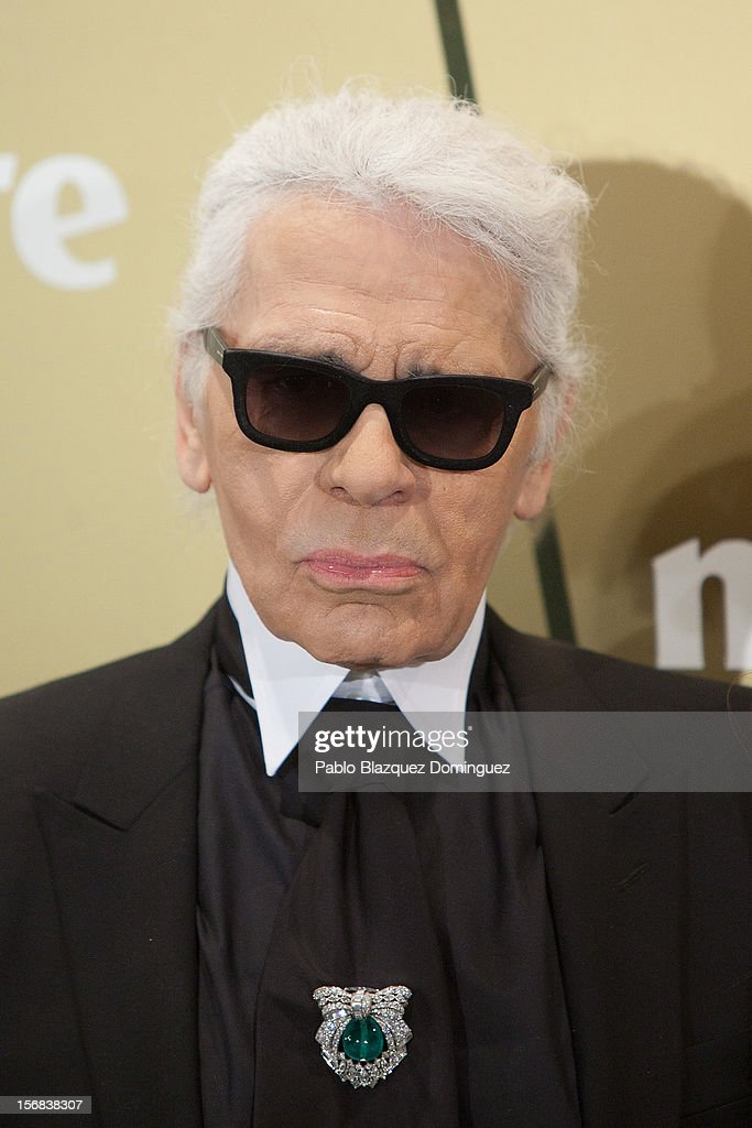 Designer Karl Lagerfeld attends Marie Claire Prix de la Moda Awards 2012 at French Embassy on November 22, 2012 in Madrid, Spain.