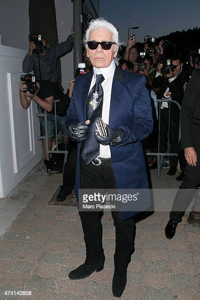 Designer Karl Lagerfeld attends the 'CHANEL' dinner at 'Tetou' restaurant during the 68th annual Cannes Film Festival on May 20 2015 in Cannes France