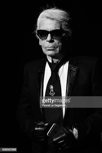 Designer Karl Lagerfeld attends the Dior Homme Menswear Fall/Winter 20162017 show as part of Paris Fashion Week on January 23 2016 in Paris France