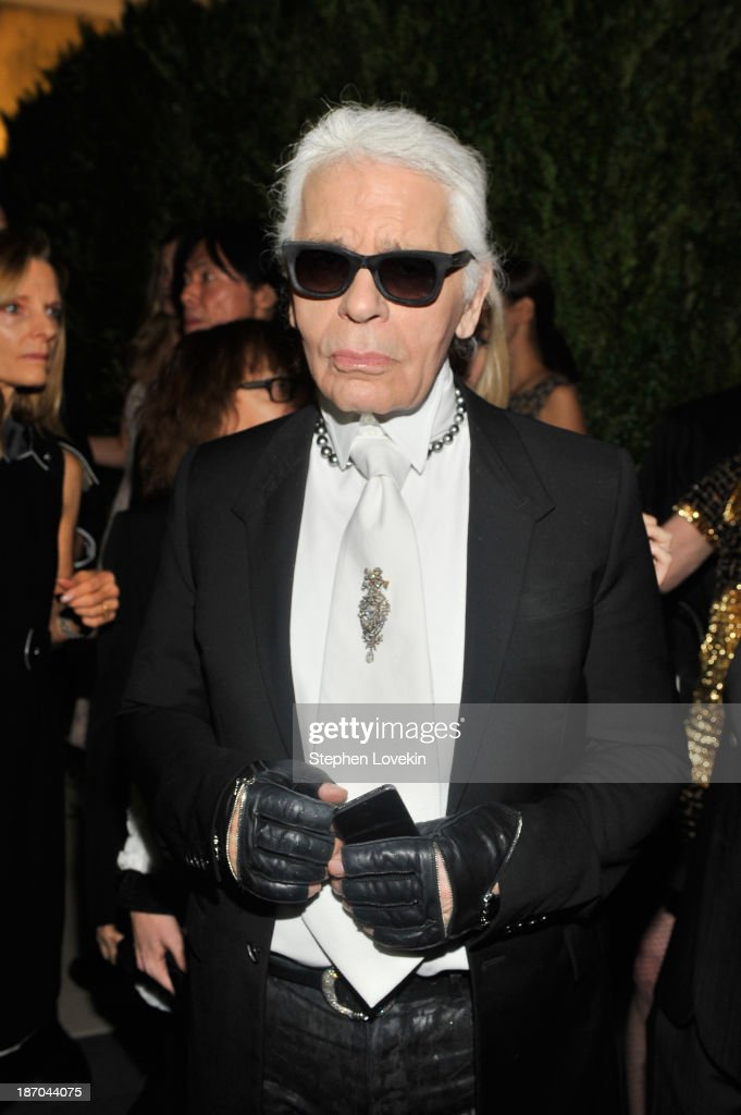 Designer <a gi-track='captionPersonalityLinkClicked' href=/galleries/search?phrase=Karl+Lagerfeld+-+Fashion+Designer&family=editorial&specificpeople=4330565 ng-click='$event.stopPropagation()'>Karl Lagerfeld</a> attends The Museum of Modern Art Film Benefit: A Tribute to Tilda Swinton reception at Museum of Modern Art on November 5, 2013 in New York City.
