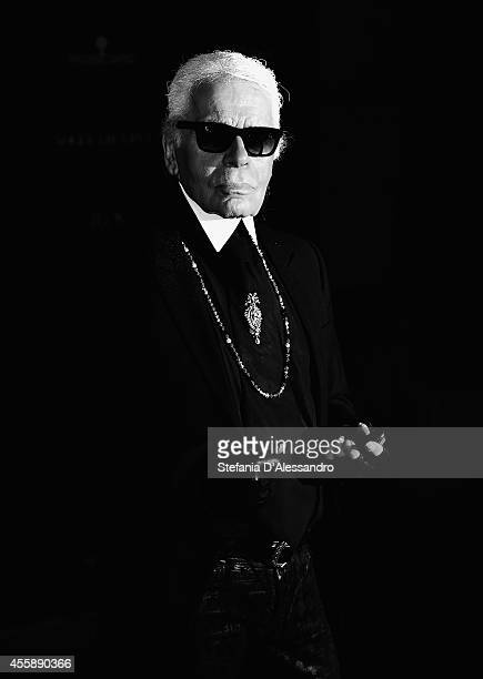 Designer Karl Lagerfeld attends Vogue Italia 50th Anniversary Event on September 21 2014 in Milan Italy