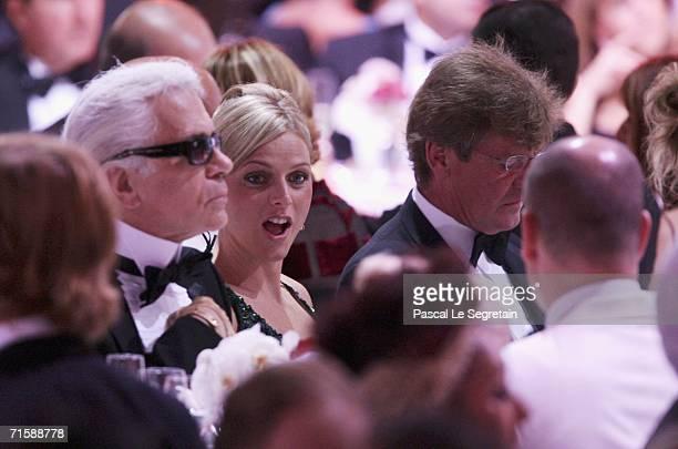 Designer Karl Lagerfeld Charlene Wittstock prince Ernst August of Hanover and prince Albert II of Monaco attend the Monaco Red Cross Ball dinner...