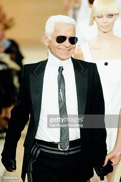 Designer Karl Lagerfeld walks down the catwalk during the Karl Lagerfeld Fashion Show as part of Paris Fashion Week Spring/Summer 2007 on October 4...