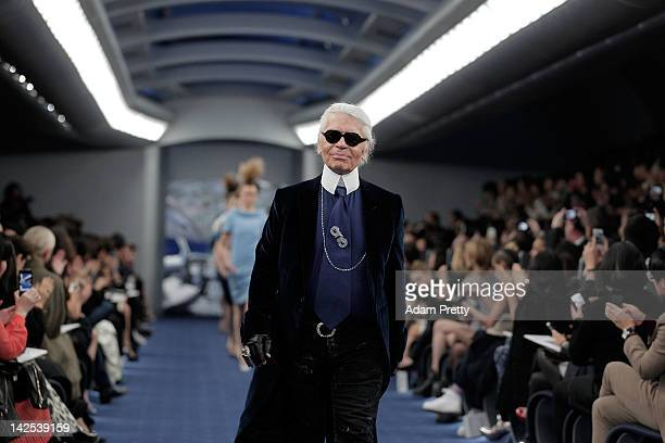 Designer Karl Lagerfeld walks on the runway during the Chanel 2012 Spring/Summer Haute Couture Collection Show at Shinjuku Gyoen Park on March 22...