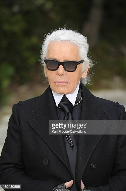 Designer Karl Lagerfeld walks the runway at the Chanel Spring Summer 2013 fashion show during Paris Haute Couture Fashion Week on January 22 2013 in...