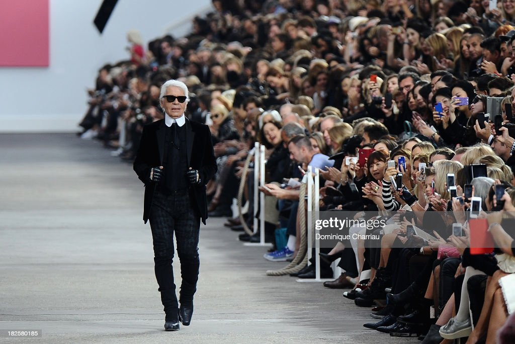 Designer Karl Lagerfeld walks the runway during Chanel show as part of the Paris Fashion Week Womenswear Spring/Summer 2014 on October 1, 2013 in Paris, France.
