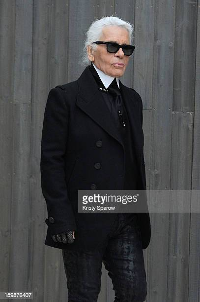 Designer Karl Lagerfeld walks the runway during the Chanel Spring/Summer 2013 HauteCouture show as part of Paris Fashion Week at Grand Palais on...