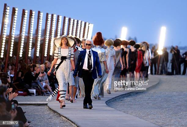 Designer Karl Lagerfeld walks the runway during the Chanel Cruise 2010 Fashion Show on May 14 2009 in Venice Italy