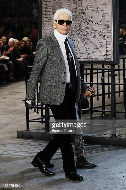Designer Karl Lagerfeld walks the runway during the Chanel Metiers d'Art 2015/16 Fashion Show at Cinecitta on December 1 2015 in Rome Italy
