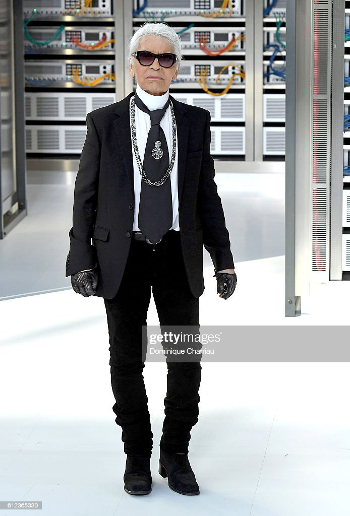 Designer Karl Lagerfeld walks the runway during the Chanel show as part of the Paris Fashion Week Womenswear Spring/Summer 2017 on October 4, 2016 in Paris, France.