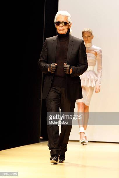Designer Karl Lagerfeld walks the runway in the Karl Lagerfeld Spring/Summer 2009 show during Paris Fashion Week at Espace Eiffel on October 1 2008...