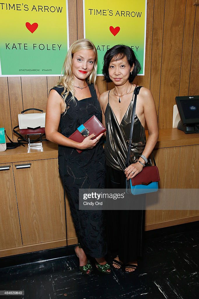 Designer <a gi-track='captionPersonalityLinkClicked' href=/galleries/search?phrase=Kate+Foley&family=editorial&specificpeople=8218744 ng-click='$event.stopPropagation()'>Kate Foley</a> and Time's Arrow creative directorof luxe leather accessories Christine Park pose for a photo at the Time's Arrow + <a gi-track='captionPersonalityLinkClicked' href=/galleries/search?phrase=Kate+Foley&family=editorial&specificpeople=8218744 ng-click='$event.stopPropagation()'>Kate Foley</a> Presentation during Mercedes-Benz Fashion Week Spring 2015 at Miss Lily's on September 2, 2014 in New York City.