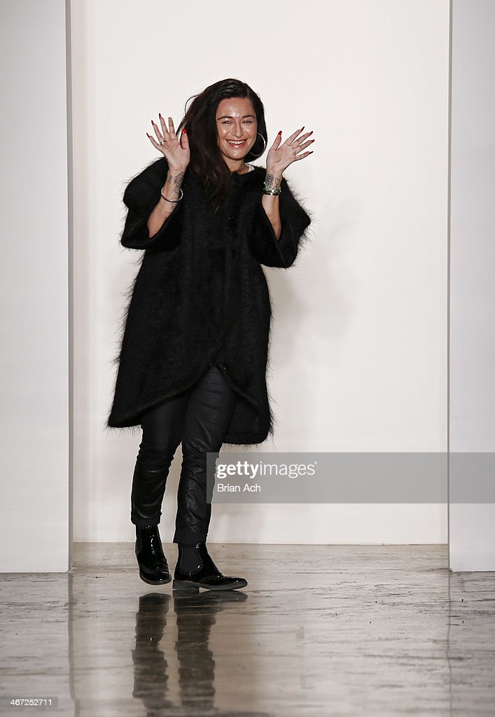 Designer Katharine Polk asppears on the runway at the Houghton fashion show during MADE Fashion Week fall 2014 at Milk Studios on February 6, 2014 in New York City.
