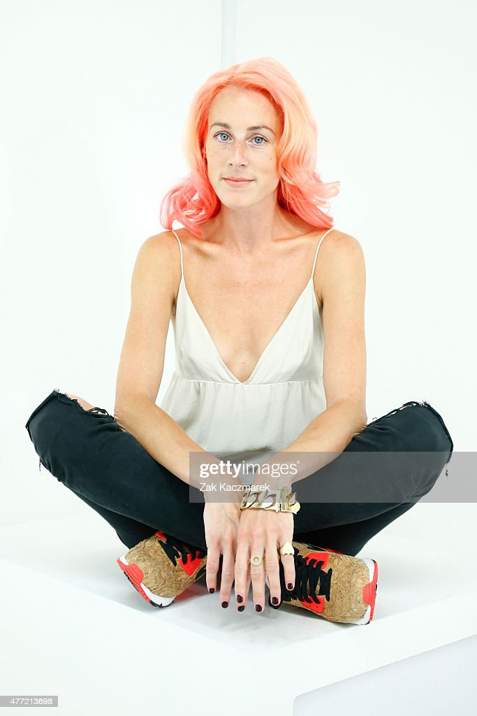 Designer Katie Eary backstage at the Katie Eary show during The London Collections Men SS16 at Victoria House on June 15 2015 in London England