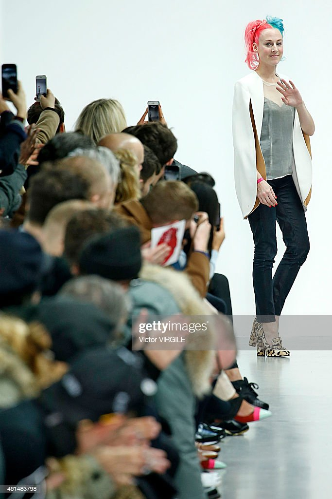 Designer Katie Eary walks the runway at the Katie Eary Autumn Winter 2015 fashion show during London Menswear Fashion Week on January 12 2015 in...