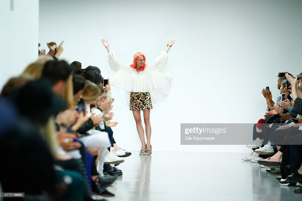 Designer Katie Eary walks the runway at the Katie Eary show during The London Collections Men SS16 at Victoria House on June 15 2015 in London England