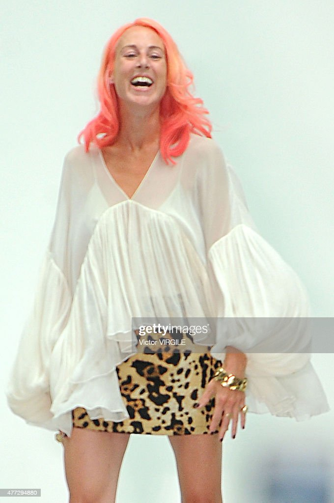 Designer Katie Eary walks the runway during the Katie Eary Ready to Wear Spring Summer 2016 fashion show during London Menswear Fashion Week on June...