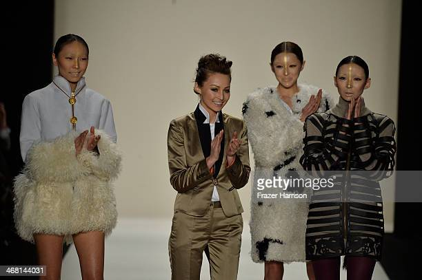Designer Katya Zol walks the runway at the Katya Zol fashion show during MercedesBenz Fashion Week Fall 2014 at The Theatre at Lincoln Center on...