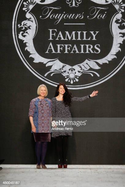 Designer Kaya Egli and Nina Egli on the runway after the runway at the Toujours Toi Family Affairs show during MercedesBenz Fashion Days Zurich 2013...