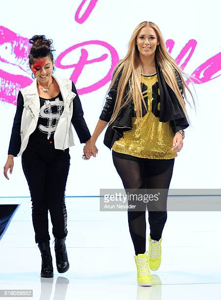 Designer Kaya Jones walks the runway with model wearing Hollywood Dolls at Art Hearts Fashion LAFW Fall/Winter 2016 at Taglyan Cultural Complex on...