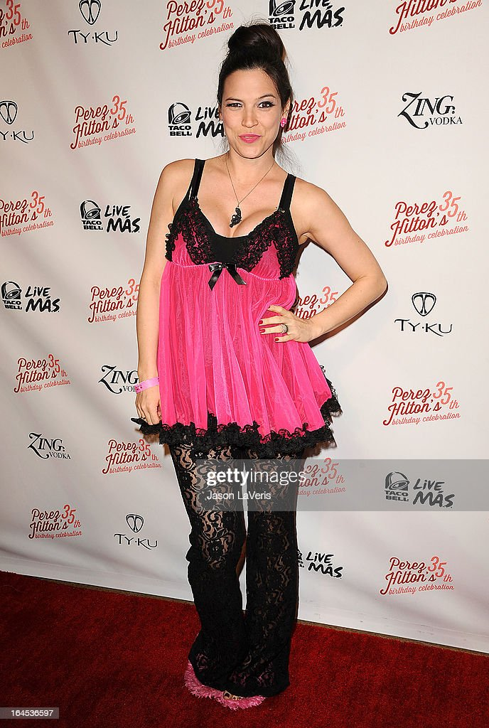 Designer Kelly Nishimoto attends Perez Hilton's 35th birthday party at El Rey Theatre on March 23, 2013 in Los Angeles, California.